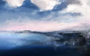 Picture Sea, Figure, Shore, Earth, Fantasy, Landscape, Art, landscape, Concept Art, by Katia Lin, Promenade Orc, …