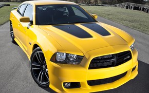 Picture Yellow, Dodge Charger, Muscle car, Super Bee, SRT 8