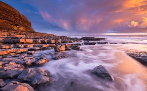Picture stones, rocks, coast, South Wales, Гламорган, Nash Point