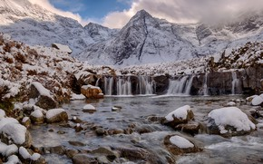 Picture snow, landscape, mountains, stones, waterfall, Scotland, Scotland