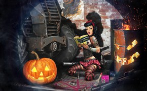 Picture the game, the situation, art, pumpkin, Halloween, Crossout, Sergey Kondratovich, Post Apocalyptic pin up HELLOWEEN