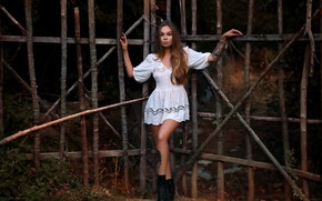 Picture girl, pose, gate, dress, tattoo, Christina, Denis Lankin