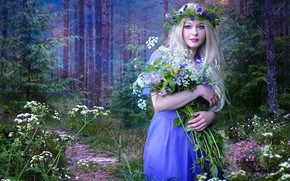 Picture forest, girl, flowers, spring, photoart