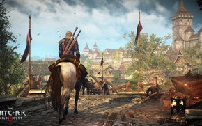 Picture the city, Geralt, The Witcher 3: Wild Hunt, The Witcher 3: Wild Hunt, roach, Novigrad