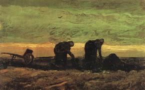 Picture Vincent van Gogh, in the Moor, Two Women