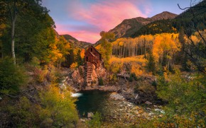 Picture autumn, mountains, nature, mill, pond, water