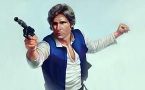 Picture gun, Star Wars, guy, Han Solo