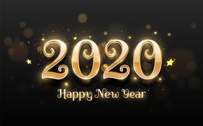 Picture background, gold, the inscription, black, new year, 2020