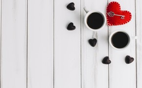 Picture love, heart, hearts, red, love, heart, wood, cup, romantic, valentine's day, coffee, a Cup of …