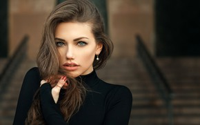 Picture look, pose, background, model, portrait, makeup, hairstyle, brown hair, beauty, in black, bokeh, Svetlana Grabenko, …