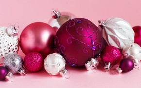 Picture winter, balls, holiday, balls, toys, Christmas, small, New year, pink, white, ornament, large, pink background, …