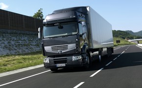 Picture track, truck, Renault, tractor, 4x2, the trailer, dark gray, Premium Route, Renault Trucks