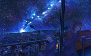 Picture girl, night, the city, guy, Starfall