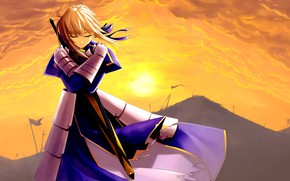 Picture girl, sword, anime, art, the saber, Artoria Pendragon, Fate stay night, Excalibur, Fate / Stay ...