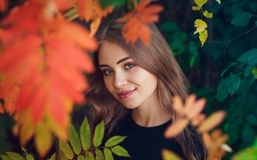 Picture autumn, look, leaves, girl, face, smile, mood, Ivan Shcheglov