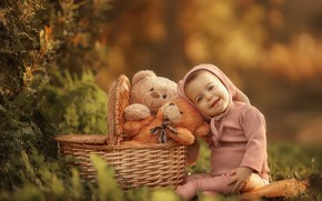 Picture nature, basket, toys, baby, bears, child, Keren Genish