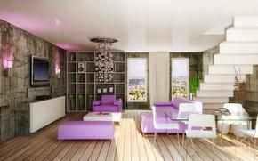 Picture design, interior, living room, modern, dining room