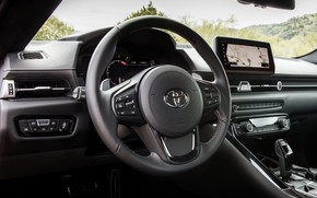 Picture coupe, interior, Toyota, salon, Supra, the fifth generation, mk5, double, 2019, steering wheel, GR Above, …