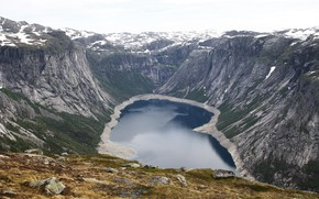 Picture snow, mountains, lake, waterfall, NORWAY