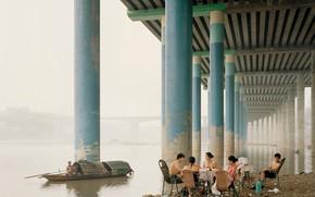 Picture bridge, posts, boat, river, picnic, Asians, picnic positive stay