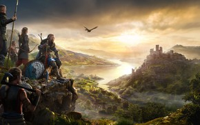 Picture castle, bird, fortress, the Vikings, assassins, Assassin's Creed Valhalla