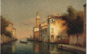 Picture boat, people, home, A VENITIAN CANAL SCENE, BOUVARD