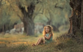 Picture summer, grass, trees, nature, girl, baby, child, Chudak Irena