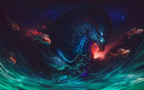 Picture Being, Dragon, Fish, Fish, Fish, Paw, Art, Art, Fiction, Illustration, Science Fiction, Creature, Illustration, Ryujin, …