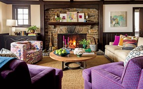 Picture design, style, interior, fireplace, living room