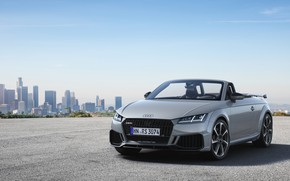 Picture machine, the city, Audi, lights, view, building, Roadster, TT RS, 2020