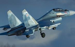 Picture Sukhoi, Flanker-C, the 4+generation, Su-30CM, serial upgraded, Russian double multi-purpose fighter, Su-30MKI for Russian air …