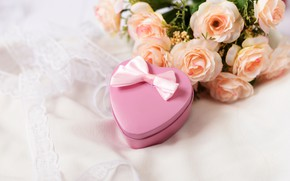 Picture heart, bouquet, roses, gift