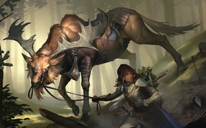Picture forest, girl, deer, harness, Legends of Runeterra