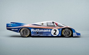 Picture side view, racing car, Porsche 956 C Coupe