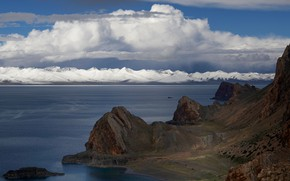 Picture clouds, mountains, rocks, shore, tops, pond, snow
