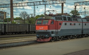Picture Road, Summer, Train, Station, Iron, Composition, Cargo, Railways, Work, The approach, Sparse