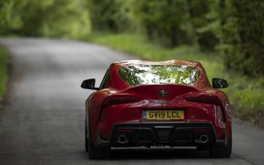 Picture asphalt, trees, red, coupe, Toyota, Supra, the fifth generation, feed, mk5, double, 2019, UK version, …