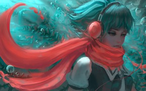 Picture girl, fish, headphones, Fuuka, by Yumenoki, Fuuka Akitsu Parking