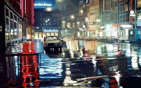 Picture Road, Night, Machine, Street, Lights, Puddles