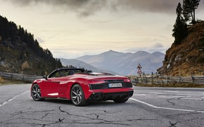 Picture mountains, Audi, Audi R8, rear view, Spyder, V10, 2020, RWD