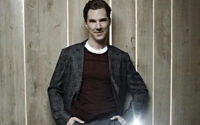 Picture background, Benedict Cumberbatch, Benedict Cumberbatch, wooden fence, British actor