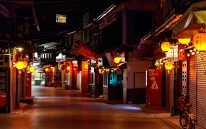 Picture Japan, lights, Japan, night street, Miyajima
