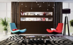 Wallpaper design, carpet, furniture, interior, chairs, table, modern