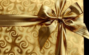 Picture background, box, gift, pattern, Shine, tape, New year, gold plated, bow, bow, gold