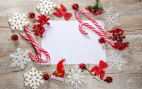 Picture balls, snowflakes, berries, Christmas, New year, lollipops, a sheet of paper