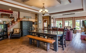 Picture design, style, Villa, interior, living room, dining room, House in Sainte-Marguerite-du-Lac-Masson, Laurentides