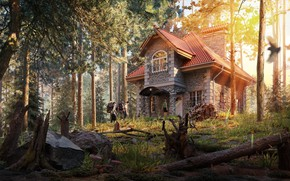 Picture forest, roots, tourists, house in the woods, Shishkin Les