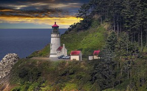 Picture sea, forest, shore, lighthouse