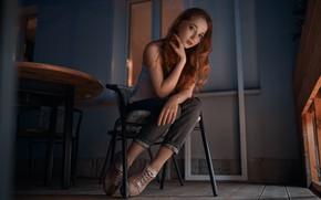 Picture girl, chair, sitting, Vyacheslav Shishkov, red hair