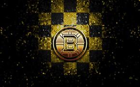 Picture wallpaper, sport, logo, NHL, hockey, glitter, checkered, Boston Bruins